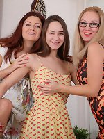 Two naughty cougars seducing a hairy innocent teen